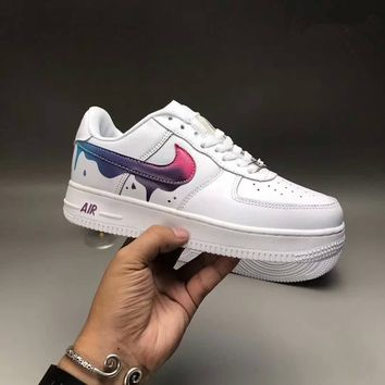 """""""Nike Air Force 1"""" Sport Casual Fashion Classic Graffiti Leather Low Help Plate Shoes Women Thick Bottom Sneakers"""