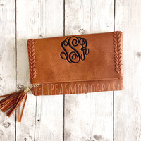 Brown Monogram Clutch, Monogram Purse, Personalized Bag, Bridesmaid Gift, Faux Leather Bag