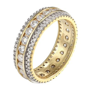 Eternity Wedding Ring Women Stackable Solitaire Band Sterling Silver Gold Tone