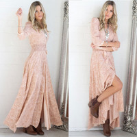 Pink Boho Maxi Dress Sweet Country Girl Floral Burnout Light Baby Pink With Tassels Long Slit Small, Medium Or Large