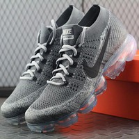 Best Online Sale Nike Air VaporMax Vapor Max 2018 Flyknit Men Grey Sport Running Shoes 849558 004