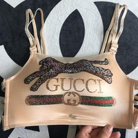 GUCCI women's models bright diamonds without rims anti-light sexy gathered beautiful back bra underwear Beige