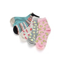 WOMENS/GIRLS Fruit Print Ankle Socks 5pairs