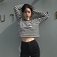 Autumn New Simple Casual Black And White Striped Long-sleeved Short Loose Round Neck T-shirt Fashion Women's High Quality