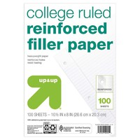 up & up™ College Ruled Reinforced Filler Paper - 8.5 in. x 11 in. - 100 sheets