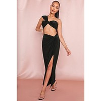fhotwinter19 one-shoulder tube top long solid color high split two-piece female