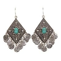 Turquoise Boho Turquoise Dangling Earrings by Charlotte Russe