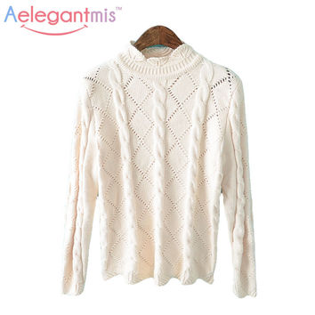 (9.24 Special Offer) Aelegantmis Winter Warm Cable-Knit Knitted Highneck Sweater Women Knitting Female Pullover Knitwear