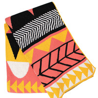 Kenchi Thick Cotton Throw / Blanket -  Sunny Coral