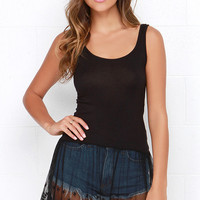 Willow Black Lace Tunic Top