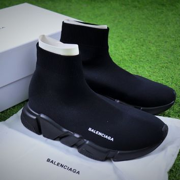 Balenciaga Speed Stretch Knit Mid Sneakers All Black Socks Shoes - Best Online Sale