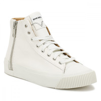Diesel Mens Dirty White S-Voyage Hi-Top Trainers