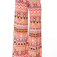 Hip to the Groove Aztec Print Palazzo Pants - Coral