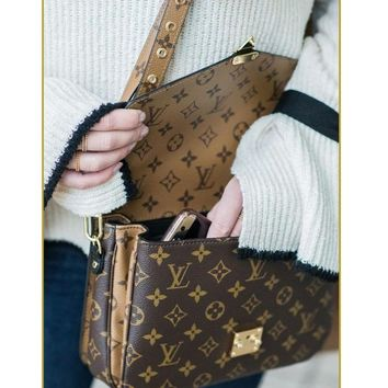 LV Louis vuitton fashion hot sale printed patchwork color shoulder bag casual lady cross messenger bag