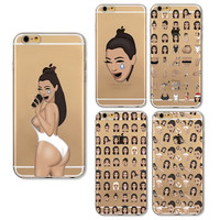 For Apple iPhone 6 6s Plus 5s Cases Sexy Kim Kardashian Painted Cartoon Phone Case Cover for Iphone 6 Clear Soft TPU Cover Coque