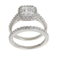 Silver Princess-cut Clear Cubic Zirconia Bridal-inspired Ring Set | Overstock.com