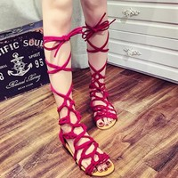 Sexy high - top cross strap flats with Roman sandals