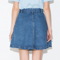 Big Pockets Denim A-Line Mini Skirt