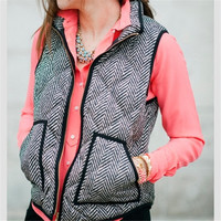 Vintage Outerwear Real Photo Designer Inspired Cotton Textured Herringbone Quilted Puffer Vest Gold Zipper for Women +Free Gift Necklace
