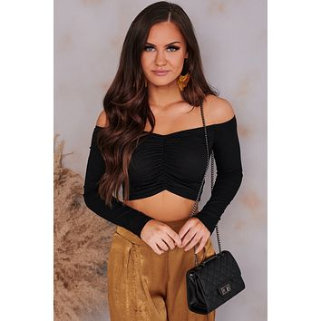 Worth The Hype Ruched Off The Shoulder Crop Top (Black)