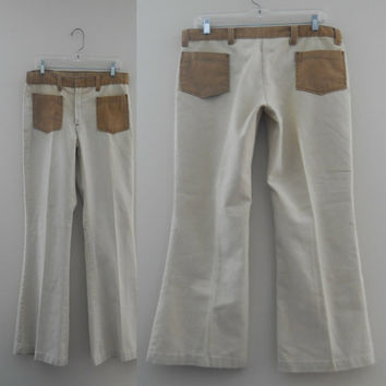 Mens Hippie Pants / Mens 70s Pants / Bell Bottom Jeans / Two Tone Jeans / 70s Jeans Brown Pants Funky Pants Mens Retro Clothing 70s Clothes