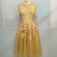 Golden Lace Homecoming Dress, Dress for Homecoming