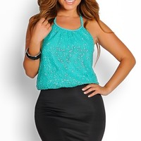 Emerald Green and Black Sequins Halter Party Dress
