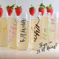 Bridesmaid Gift Ideas/Personalized Stemless Glasses/Bridesmaid Champagne Glasses/Personalized Champagne Flute/Monogram Glasses