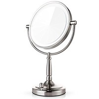 Miusco 7X Lighted Magnifying Two Sided Makeup Mirror, Battery and AC Adapter Operated, 8 inch, Brushed Nickel