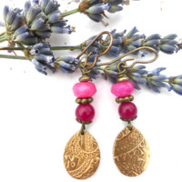 Pink stone and bronze charm earrings. Small jewelry.