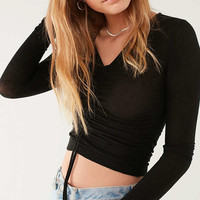 Out From Under Alexa Ruched Long Sleeve Top   Urban Outfitters