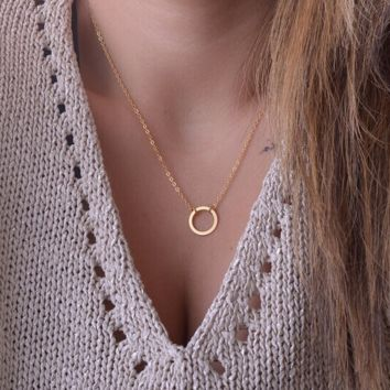 Gold circle necklace,Simple circle necklace+Beautiful gift box 080401