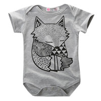 Fox Printed new born baby girl clothing children toddlers rompers baby boy romper newborn baby clothes Cute Real Photo