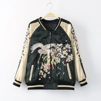 Floral Printed Mixed Color Women Baseball Stand Collar  Sweater Cardigan Coat Jacket Outerwear _ 9694