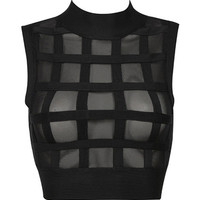 Black Mesh Lattice Cutout High Neck Crop Top