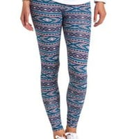 Cotton Aztec Printed Leggings by Charlotte Russe - Teal Combo