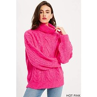 Hot Pink Chunky Cable Knit Sweater
