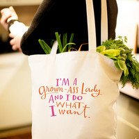 """Large, Sturdy, Thick Canvas """"Grown-Ass Lady"""" Tote Bag"""