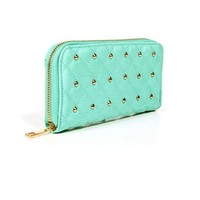 Jade Mint/Gold Quilted Studded Wallet