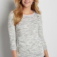 spacedye french terry pullover with reversed panels | maurices