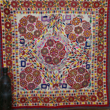 Rare Vintage Kutch Tribal Indian Tapestry , Rustic Decor Tapestry , Vintage Embroidered Throw , Ethnic Banjara Wall-hanging