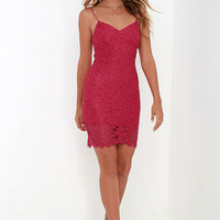 Figment of Fascination Berry Pink Lace Bodycon Dress
