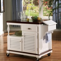 Chefs Helper White finish wood kitchen island cart with louvered design doors and casters