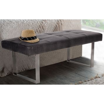 Chic Home BH18-13DC-N1 Wayne Bench Tufted Dark Grey Faux Crocodile Chrome U Leg