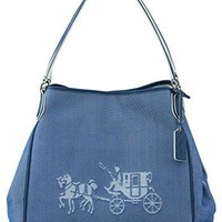 COACH 35344 Embossed Horse and Carriage Edie Shoulder Bag In Canvas in Denim