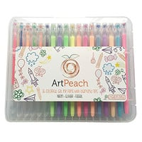Colorful Gel Ink Pens with Diamond Tips by ArtPeach - 36 Set with Hard Case - (Neon, Glitter and Pastel) - Perfect for drawing, writing and adult coloring books!