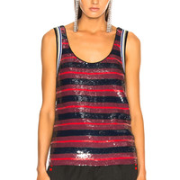 3.1 phillip lim Striped Sequin Top in Chocolate & French Navy | FWRD