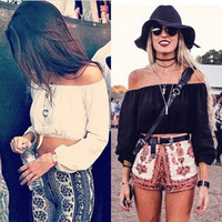 Fashion Women Casual Boho Crop Top Chiffon Sexy Off Shoulder Summer Shirt Blouse = 5698944833