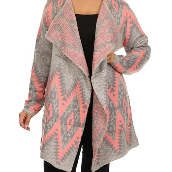 BellaBerry USA Gray & Pink Tribal Open Cardigan - Plus   zulily