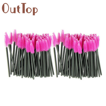 New 100pcs/lot make up brush Pink synthetic fiber One-Off Disposable Eyelash Brush Mascara Applicator Wand Brush best deal